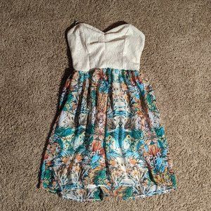 Cute tropical strapless sundress